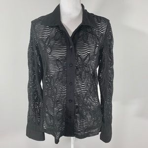 Vintage 80s long sleeve button down mesh top